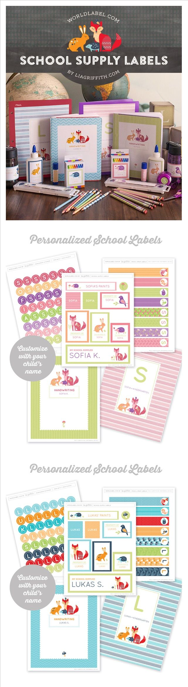 FREE printable school tags (+ alphabet letters stickers) ^^