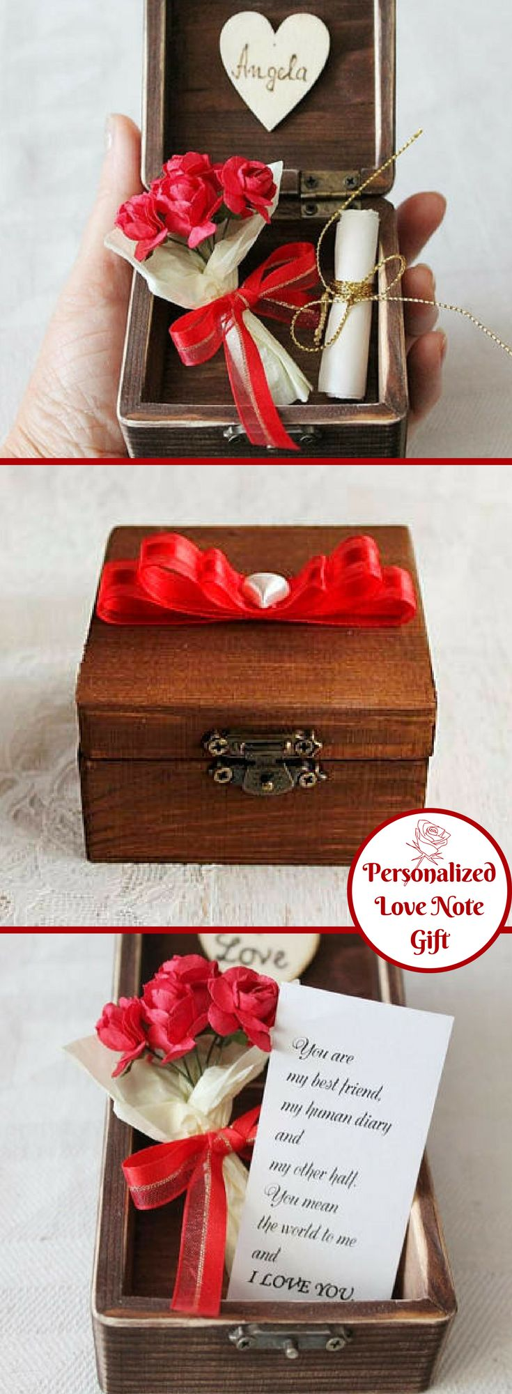 How sweet is this? So romantic! Great gift idea to give your sweetheart for her birthday. Love message, tied with golden string and small gold key charm, a bunch or red roses in a small wooden jewelry box. Long distance gift for her, great gift for woman or wife! This wooden jewelry box would be perfect personalized gift, great firs anniversary gift for your wife, gift for mom, romantic gift for your girlfriend. #Ad #giftforher #personalized #birthday #anniversary #valentinesday #love