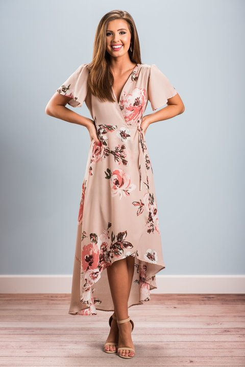"""""""When You Least Expect It Maxi Dress, Blush""""This maxi dress is a real class act! It's shape and style is so flattering and classy! The surplice neckline and tied waist definitely help with that! #newarrivals #shopthemint"""