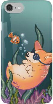 Underwater Corgi and Clown Fish iPhone 7 Cases