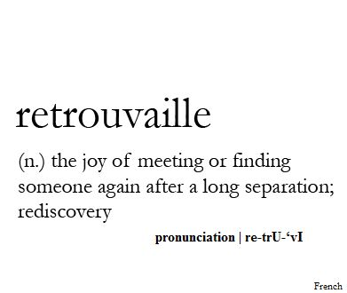 Retrouvaille (n.) the joy of meeting or finding someone again after a long separation; rediscovery