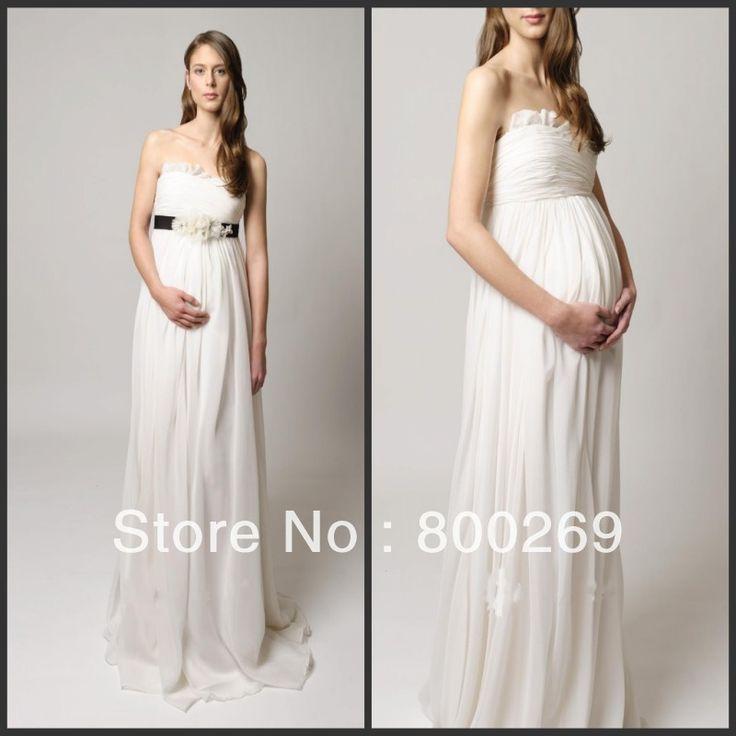 2014 Свадебные Платья Для Беременных Невест Милая Рукавов Sweep Поезд С Створки И Ручной Цветок T167