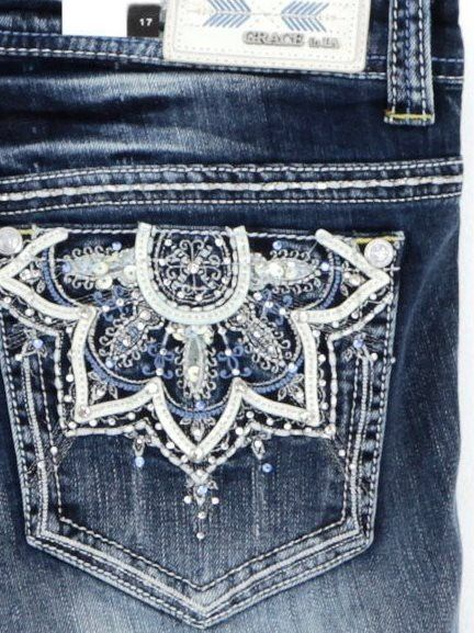 With beautiful rhinestone details, these Grace in LA Plus Size Jeans Straight Leg with embellished sunbursts are an ideal jean for the chic and fashionable woman! These jeans will be a favorite additi