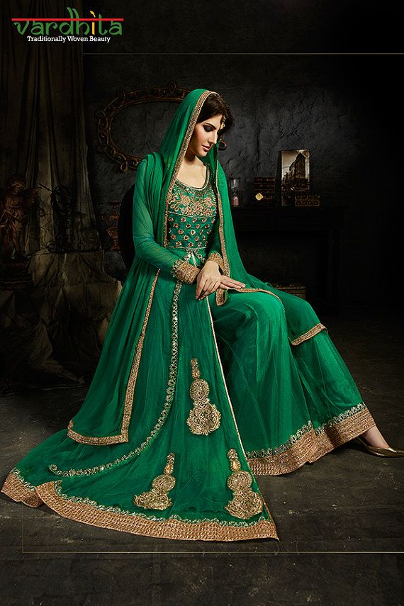 Green Color Color Net Fabric Suit Salwar Kameez by VardhitaSarees