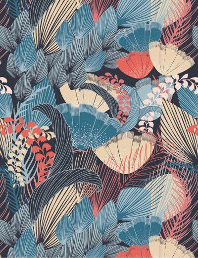 blue and coral leaf pattern | millie marotta