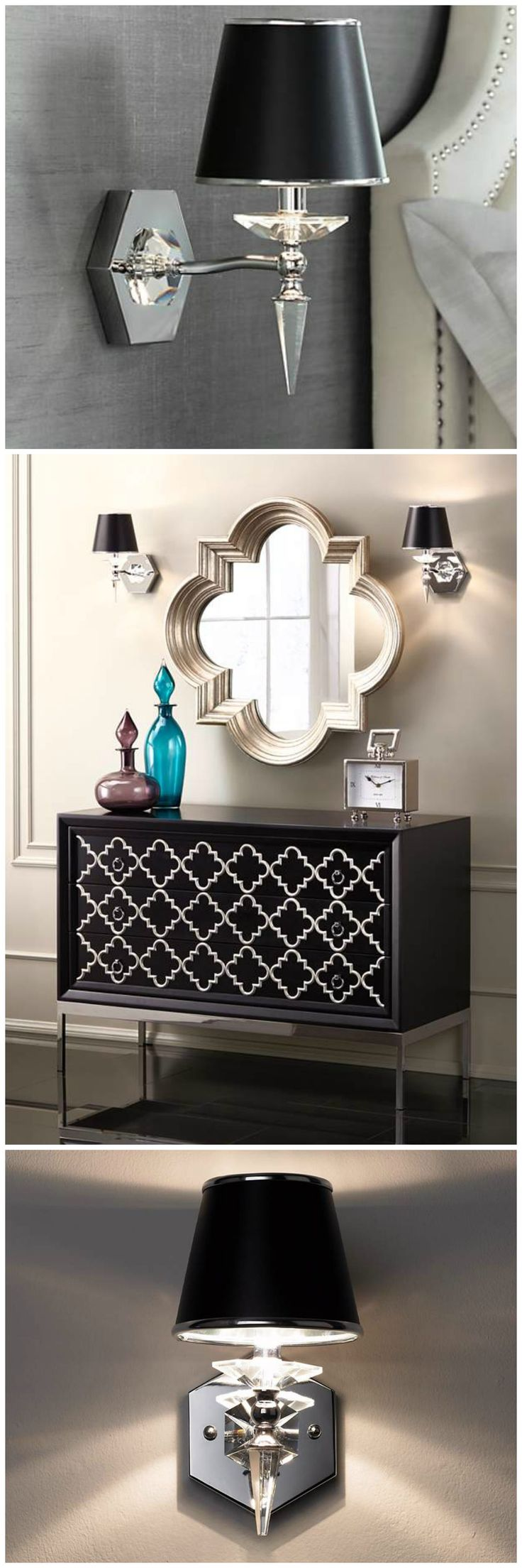 Chrome and crystal come together to bring your home a polished sparkle. A black paper shade with silver edging and lining tops off this transitional wall light sconce with a sophisticated sizzle.