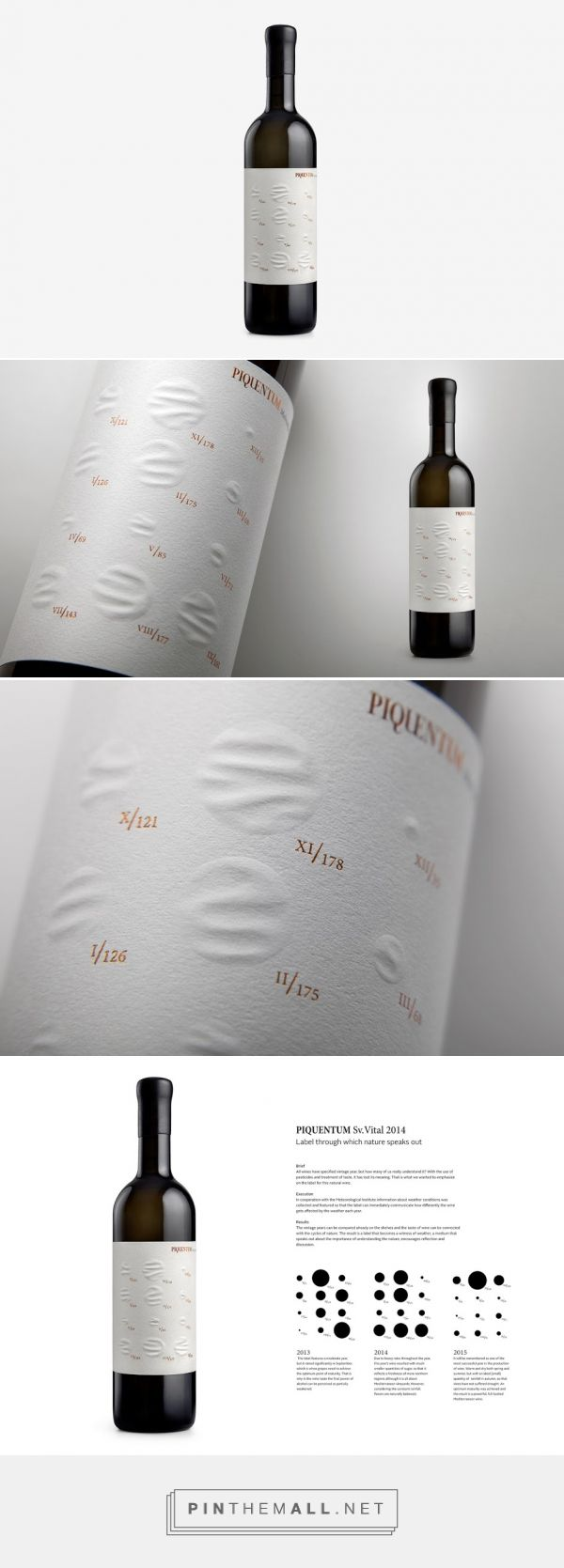 Piquentum St. Vital wine label shows rainfall amount - design by Studio Sonda (Croatia) - http://www.packagingoftheworld.com/2016/04/piquentum-st-vital.html