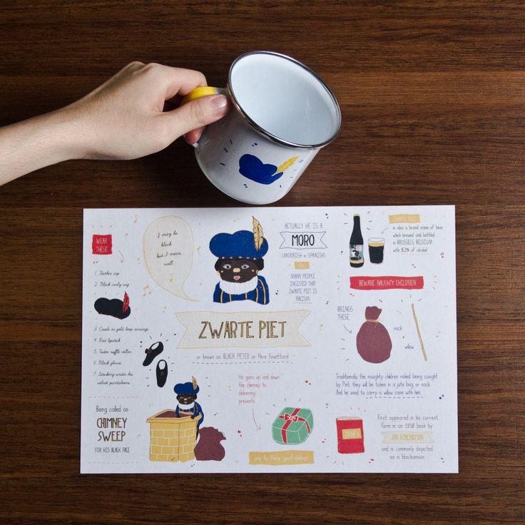 Zwarte Piet enamel mug and print  #enamelware #cestca #enamelmug #handcraft #handmade #christmas #gift #christmasgift #ideas