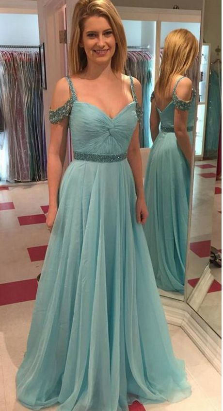 Floor-length Evening Prom Dress Long Light Blue Dresses With Backless Sequin  Straps Appealing Prom Dresses by RosyProm e1c425380362