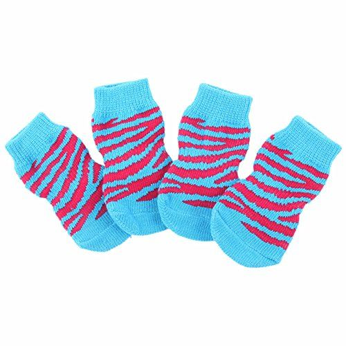 Weixinbuy Pet Dog Cartoon Socks Knit Anti Slip Boots 4Pcs Light Blue Small *** Want to know more, click on the image.