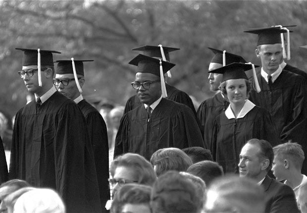 James Meredith, whose 1962 entry into the previously segregated University of Mississippi sparked a student riot, receives his diploma at commencement ceremonies. Meredith is the first black man to earn a degree from Ole Miss. (AARP)
