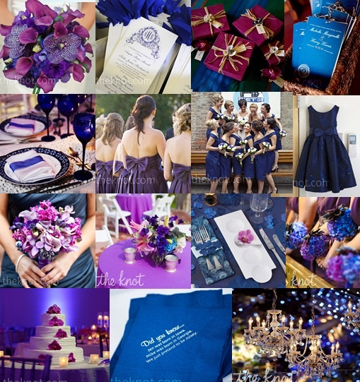 Navy and/or royal blue and shades of violet and purple make a beautiful color combination! Inspiration board by Austin Texas Wedding and Event Rental Specialists, Premiere Party Central: http://www.PremierePartyCentral.com