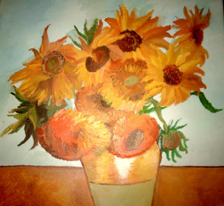 Sunflowers, reproduction afer Vincent van Gogh , oil on canvas
