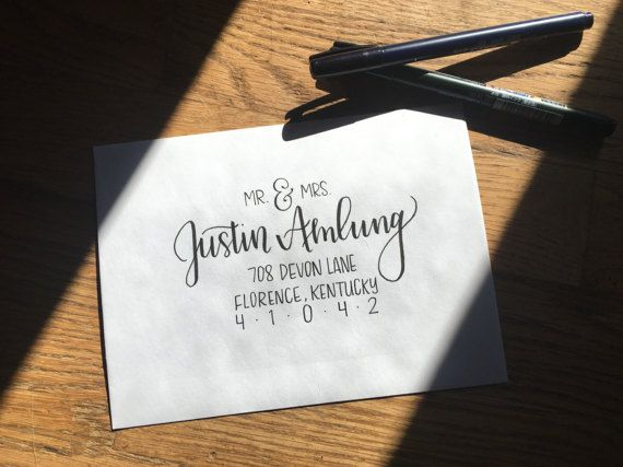 Envelope Addressing Hand Lettered Envelopes Wedding