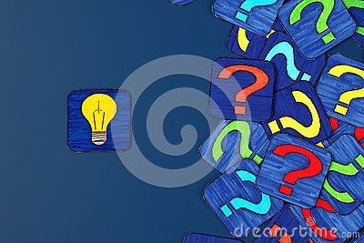 Yellow light bulb and a lot of question marks on blue background. Pictures drawn by me.