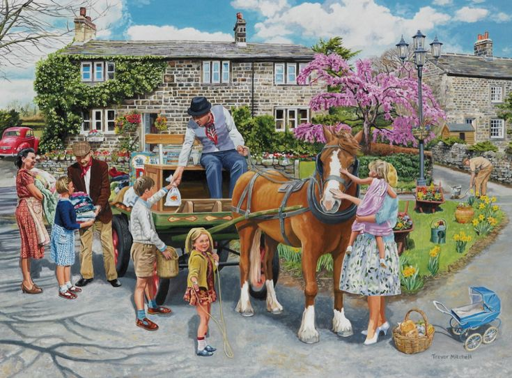 valjellybean 300 pc Paintings Petting The Horse in