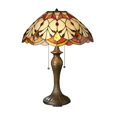 Basil Street Gallery Flowing Buds Tiffany-Style Stained Glass Table Lamp
