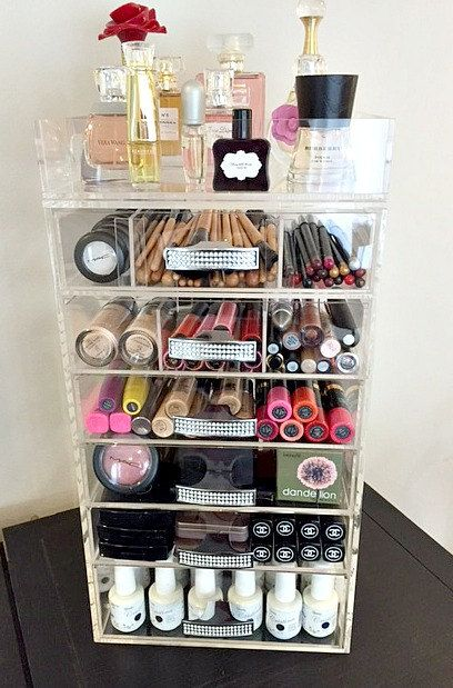 Clear Acrylic Makeup Organizer Crystal Handle