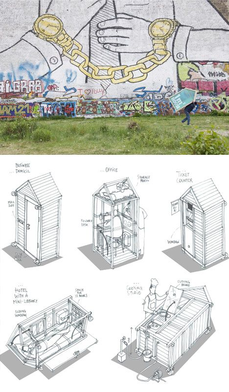 Completely AWESOME miniature house to beat them all - a one meter home plans by German architect Van Lo Le-Mentzel