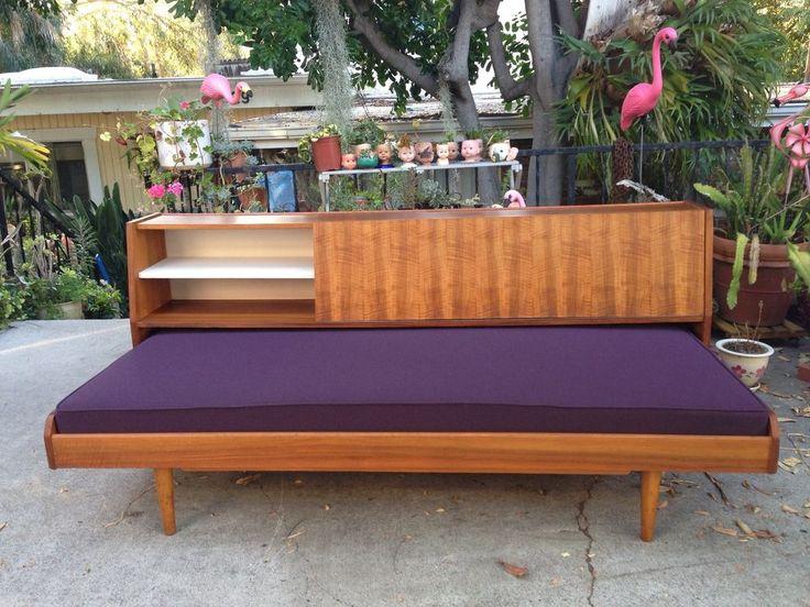 Sofa Sleeper Mid Century Danish Modern Teak Daybed Pullout Sofa Bed Tiki New Foam u Fabric