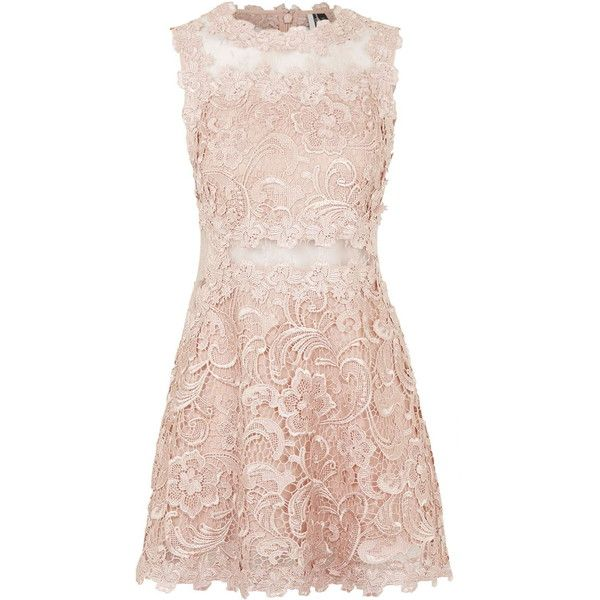 TOPSHOP Structured Lace Skater Dress featuring polyvore, fashion, clothing, dresses, vestidos, nude, pink lace cocktail dress, pink cocktail dress, fit & flare dress, slimming dresses and nude dress