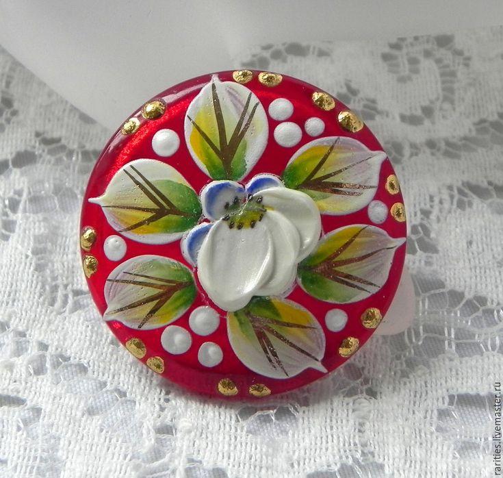 Купить Чешская пуговица с объёмным цветком,ручная роспись,эмали,позолота 24k - пуговицы, пуговица