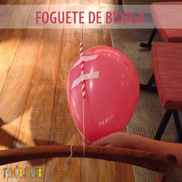 Com uma bexiga e canudos você consegue fazer um foguete de bexiga diferente que faz sucesso com crianças!