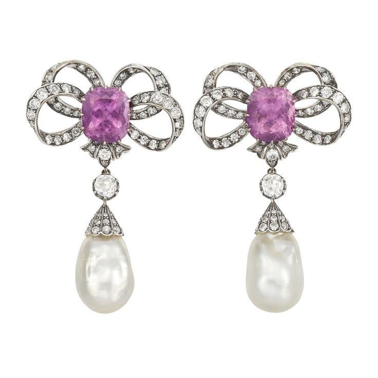 Pair of White and Blackened Gold, Pink Sapphire, Diamond and Baroque Cultured Pearl Pendant-Earrings.