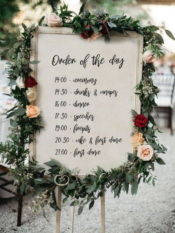 20 Creative Wedding Timeline Sign Ideas To Get Inspired Emmalovesweddings Order Of The Day Wedding Wedding Activities Wedding Order