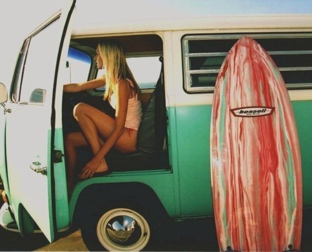 This makes me want to be a beach bum/surfer.  It also makes me miss my VW bus that I owned for about 3 months in college!: Car, Life, Style, Vw Bus, Summer, Beach