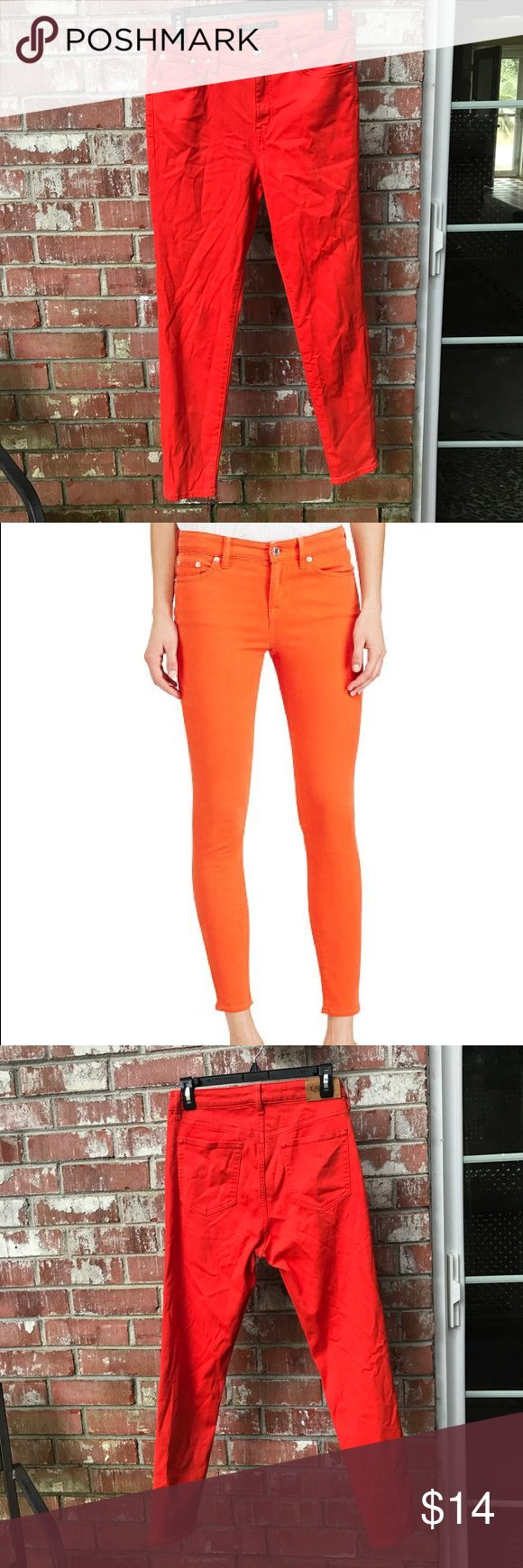 "RL Orange Skinny Jeans Premier Skinny Ankle. Bold/Poppy/Orange. Great smooth & Stretchy Jean. 10"" rise, 15 waist, 28"" inseam. Clean, always gently washed and line dried. In great condition Lauren Ralph Lauren Jeans Skinny"