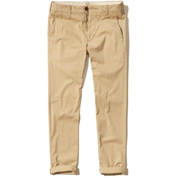 Hollister Epic Flex Skinny Chino Pants ($25) ❤ liked on Polyvore featuring men's fashion, men's clothing, men's pants, men's casual pants, light khaki, mens super skinny dress pants, mens khaki pants, mens zipper pants, mens chinos pants and mens skinny chino pants