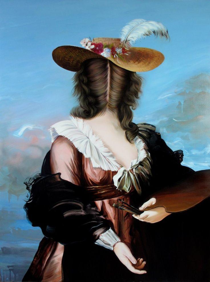 Ewa Juszkiewicz, Słomkowy kapelusz wg. Louise Élisabeth Vigée-Lebrun, 2012, akryl, olej na płótnie, 125 x 170 cm