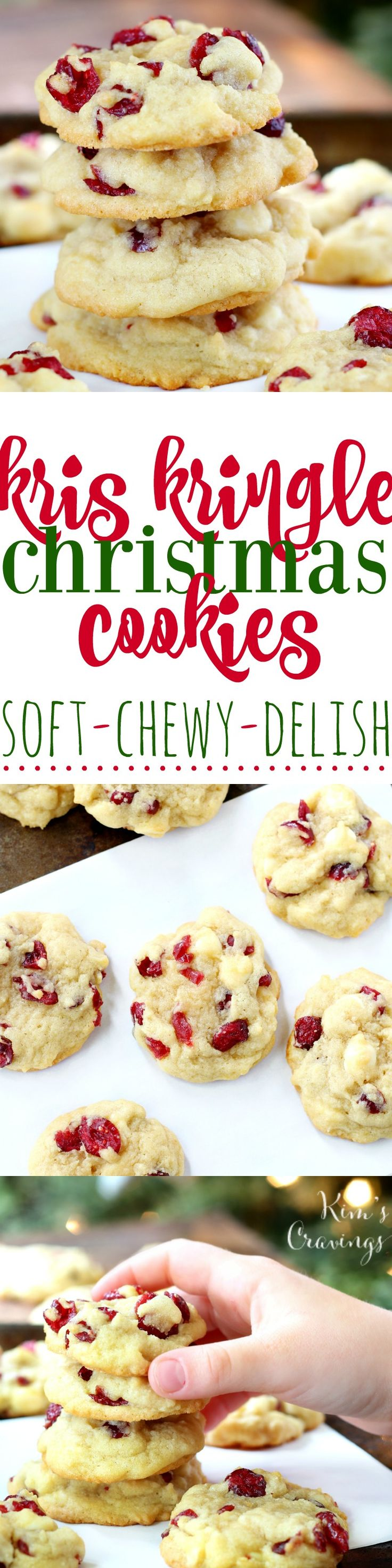 Rich and buttery Kris Kringle Christmas Cookies are dressed for the holidays with creamy white chocolate chips and sweet dried red cranberries. Seriously, the most scrumptious BEST Christmas cookies EVER! #BakeMagicMoments #Walmart #AD