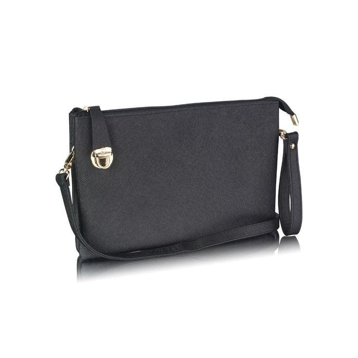 Elegantná listová kabelka je vhodná na nosenie cez rameno alebo v ruke. Kabelka je v jednoduchom jednofarebnom prevedení. Uzatvára sa na zips, pričom zips je poistený na bočnej strane kabelky klipsňou. Kabelka je rozdelená na štyrivnútorné časti (priehradky),pričom vo vnútri je jedno veľ