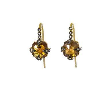 Cathy Waterman - Rustic Diamond Earrings in Designers Cathy Waterman…