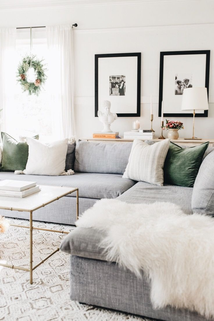 Cozy For The Holidays Living Room Grey Gray Sectional Living