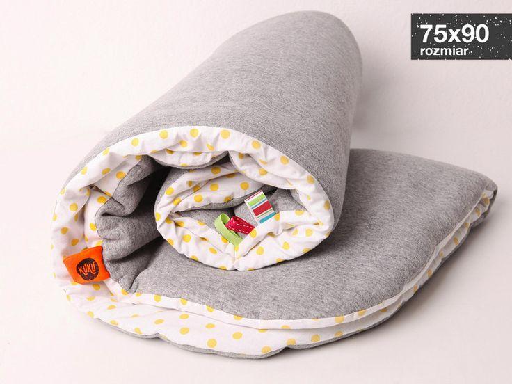 Ciepły kocyk kołderka otulacz 75x90cm kropki - KUKUdesign - Koce dla dzieci