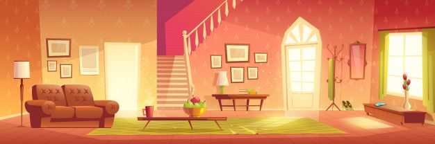 Download House Cozy Living Room Interior Cartoon For Free In 2020