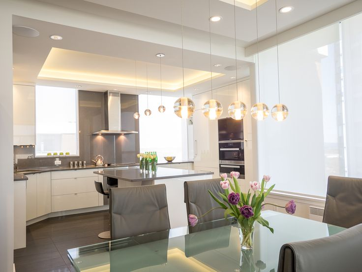 Orb Pendants, Grey and white kitchen