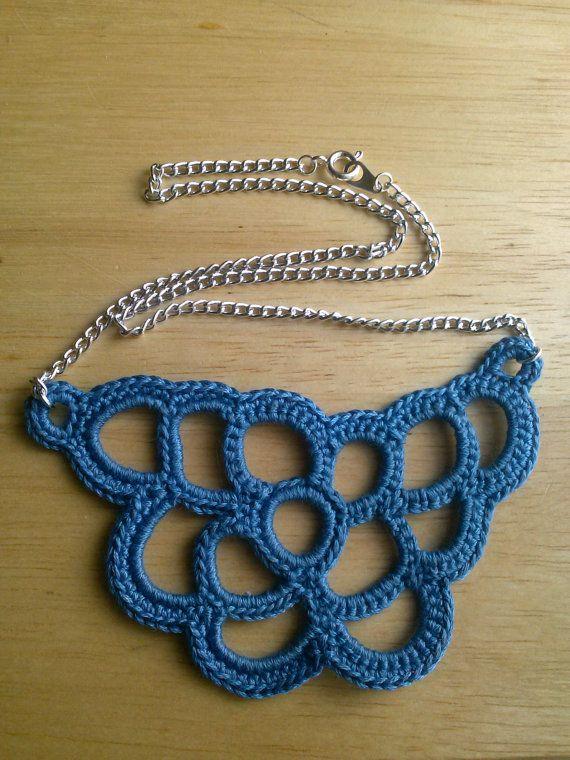 Blue Freeform Crochet Loop Necklace by KnotsByCoriLayne on Etsy