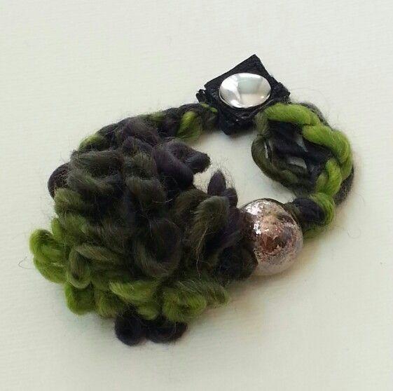Handmade soft bracelet: wool, leather, raku ceramic bead