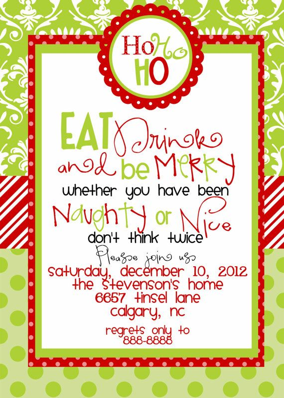 Bunco Christmas Party Ideas Part - 18: Custom Designed Christmas Party Invitations Eat Drink And Be Merry