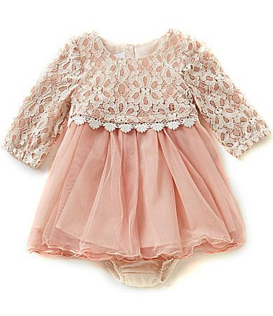 Bonnie Baby Baby Girls Newborn24 Months Lace Popover to Tulle Dress #Dillards
