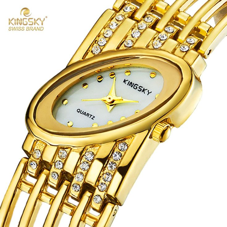Watch Women KINGSKY Watch Brand Famous Gold Oval Case Alloy Diamond Band Fashion Reloj Mujer 2016 Ladies Watch Free Shipping-in Women's Watches from Watches on Aliexpress.com | Alibaba Group