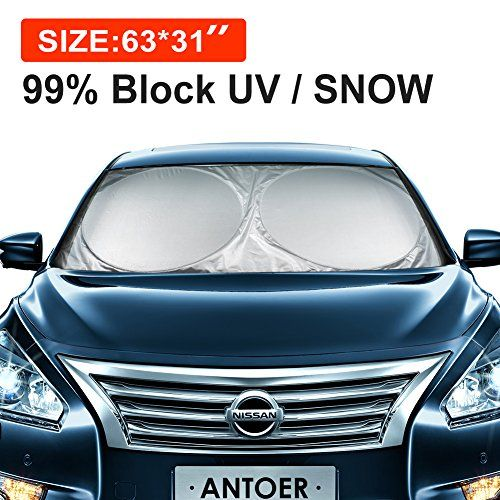 "ANTOER Car Sun Shade Travel Pouch, Large Sizes Windshield Sun Shade With 2 Ears Block Out 99% UV Rays Heat & Snow Car Sun Shade Keep Automobile Cool Easy to use 63""x31"". For product info go to:  https://www.caraccessoriesonlinemarket.com/antoer-car-sun-shade-travel-pouch-large-sizes-windshield-sun-shade-with-2-ears-block-out-99-uv-rays-heat-snow-car-sun-shade-keep-automobile-cool-easy-to-use-63x31/"