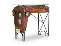 Bartisch Bistrotisch Tisch Traktor Metall recycel Glas B122cm NEU