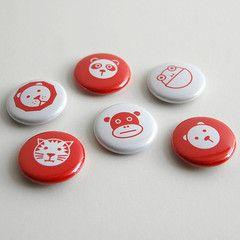 Graphic Animal Pin Badges — Polar