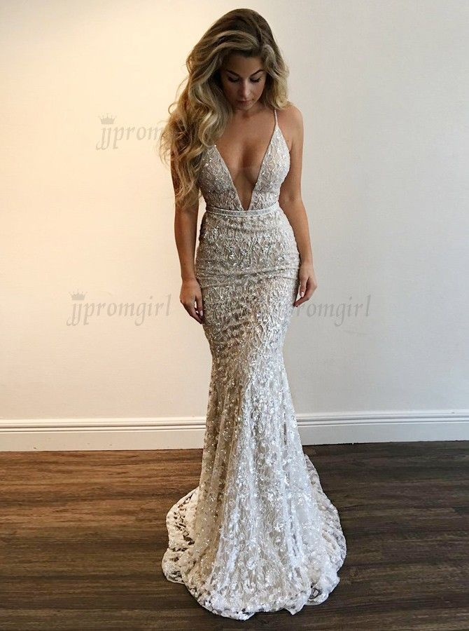 Best Mermaid Deep V-Neck Sweep Train Silver Lace Prom Dress with Sequins in  jjpromgirl.com. 42182447f907