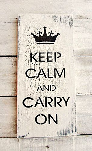 "Keep Calm and Carry On, British home décor, English, British sayings, British quotes, vintage style, large wall art, Shabby Chic Home Decor. Measures approx 12x24"", Sawtooth hanger, Varnished."